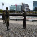 The Famine Statues close to the Human Rights & Poverty Stone, Dublin